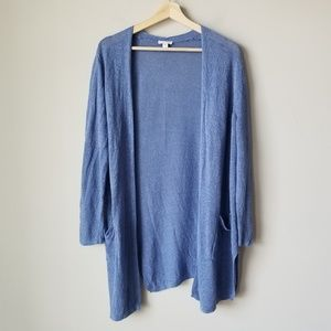 J Jill Linen Blend Long Cardigan Sweater Blue M